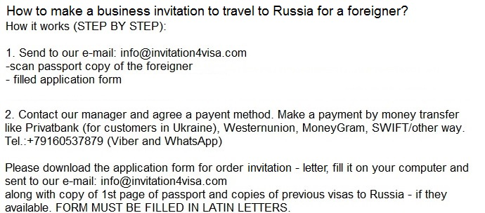 Business visa to RussiaInvitation for visa to Russia and – Business Invitation Letters
