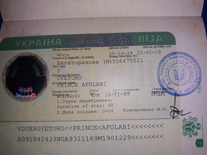 work visa D Ukraine